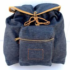 VTG Levi's Backpack Bag Purse Indigo Blue Denim Jean 60's Orange Tab Travel Book
