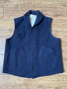 Heritage Research Workwear Wool Waistcoat Navy XL Used