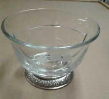 Glass Divided Sauce, Candy or Nut Bowl with Sterling Silver Foot
