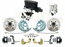 1964-1972 Chevelle Disc Brake Kit Black Calipers Slotted Rotors Wilwood Master