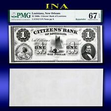 Louisiana New Orleans Citizens Bank $1 Superb Unc PMG 67 EPQ Perfect Margins