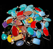 100 PCs. Lot Multi Color LARIMAR & CALSILICA 925 Silver Plated Necklace Pendant