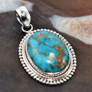 Copper Blue Turquoise Pendant 925 Sterling Silver Birthday Gift 1.88""