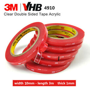 10mm x 3m 3M VHB 4910 DOUBLE SIDED CLEAR Self Adhesive Sticky TAPE Acrylic Foam