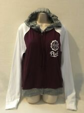 VICTORIA'S SECRET PINK PERFECT FULL ZIP HOODIE BURGUNDY/GRAY MULTI MED NWT