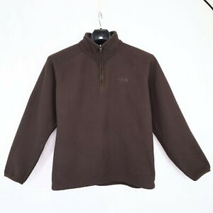 The North Face Mens Large 1/4 Zip Waffle Knit Fleece Pullover Brown Heavyweight
