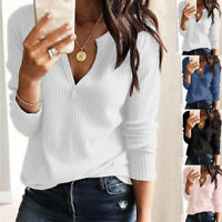 Women Ladies Casual Loose Solid V Neck Long Sleeve Tops Blouse T-Shirt Pullover