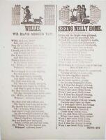 1850s ENGLISH BROADSIDE BALLADS HOMECOMING & ROMANCE 1 SHEET SONGS WITH WOODCUTS