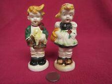 Vintage Playing German Boy Girl Salt and Pepper Shakers Ceramic 77
