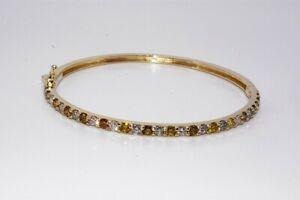 $9,200 3.12CT NATURAL FANCY MULTI-COLOR DIAMOND TENNIS BANGLE BRACELET 14K GOLD