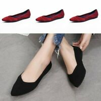 Womens Pointed Toe Woven Slip on Casual Ballet Flats Comfy Loafer Shoes Sbox4