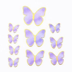 10X Happy Birthday Cake Topper Decoration Handmade Painted Butterfly Cake Topper