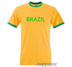 Brazil T Shirt. Yellow & Green Brazilian ringer Tee. Sizes S - 3XL