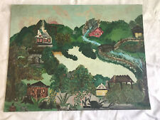 Antique Primitive  Naive Folk Art Painting From Adirondacks No.2