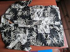 NWT $42 Caribbean Joe Men's Black Hawaiian Style Button Down Shirt Size Large