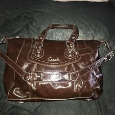 COACH Ashley Mahogany Brown Patent Leather 2/Way Shoulder Bag/Satchel F20464