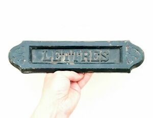 """Antique Reclaimed Cast Iron French Letter Box - """"LETTRES"""" - Arts & Crafts Style"""