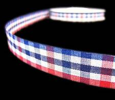 5 Yd Patriotic 4th of July Red White Blue Jello Jelly Gingham Plaid Craft Ribbon