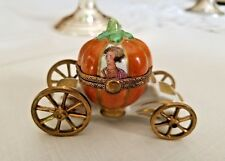 Peint Main Limoges Cinderella Pumpkin Carriage with Slipper Trinket Box France
