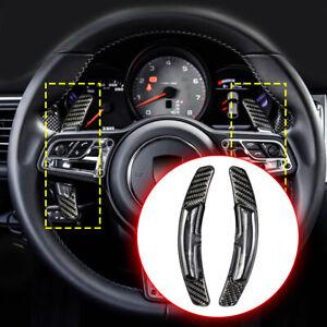 2X Carbon Fiber PDK Shift Paddle For Porsche 991 911 718 Steering Wheel Shifter