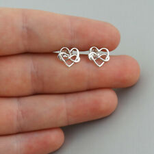 Infinity Heart Stud Earrings - 925 Sterling Silver - Polished Love Gift Posts