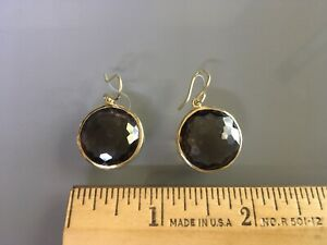 Ippolita 18K Gold Lollipop Smoky Quartz Round Drop Dangling Earrings $1295