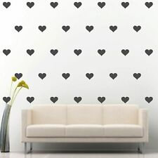 "90 of 4"" Dark Grey Heart DIY Removable Peel & Stick Wall Vinyl Decal Sticker"