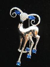 Vintage EISENBERG ICE Silver Reindeer Pin Brooch Crystal & Sapphire Rhinestones