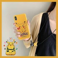 For IPhone XR XS Max 7 8 Plus Cute Pokemon Pikachu Lanyard Strap Soft Phone Case