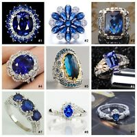 Fashion Women Blue Sapphire 925 Silver Ring Engagement Wedding Jewelry Size 5-11