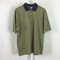 Amen Corner Masters Golf Mens Polo Shirt Pima Cotton Navy Blue Yellow Size M