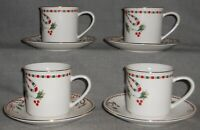 Set (4) Home Essentials TARTAN RIBBON PATTERN Cups and Saucers HOLIDAY CHRISTMAS
