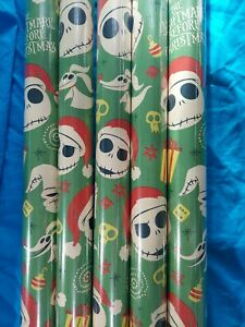 1 ROLL The Nightmare Before Christmas 70sq ft Holiday Wrapping Paper DISNEY NEW