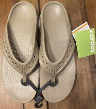 NEW Men Crocs Swiftwater Deck Flip Flop Sandal Khaki Tan size 11, New with Tags