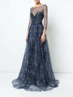 $995 NEW Marchesa Notte Navy Blue Glitter Tulle Gown Embroidered Crystals 6 10