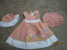 Little girls' size 12 months Orange Seersucker Dress, Hat & Bloomers for Easter