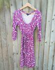 Boden purple pebble pattern dress 14R with belt, worn as maternity