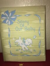 Antique Vintage 1940's Baby Book Story of Our Baby Satin Covered Sheep Lamb