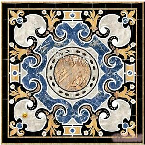 Square Marble Coffee Table Top Pietra Dura Art Reception Table for Hotel 24 Inch
