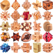 SHIPS FREE Classic IQ Wooden Puzzle Mind Brain Teasers Burr Puzzles Game Toys