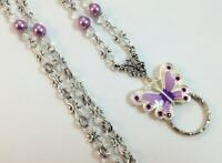 Purple Butterfly Lanyard, Beaded ID Badge Holder,  Breakaway Opt.