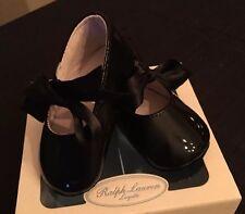 RALPH LAUREN Layette Size 2 Black Ballet Girl Crib Shoes New n Box