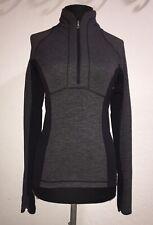 Lululemon: Run Switch Back 1/2 Zip  Black Gray Wee Stripe   Solid Black   Size 6