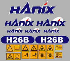 Hanix h26b Escavatore COMPLETO ADESIVO DECALCOMANIA Set con Safety AVVERTIMENTO