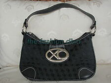 PRE-OWNED: Auth XOXO Signature Shoulder Hobo Bag Black Silver (83% new) -LAYAWAY