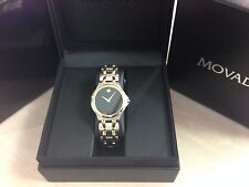MOVADO EXCLUSIVE MEN UNISEX mid size 0604517 TWO TONE GOLD PLATED MUSEUM WATCH