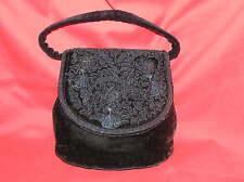 ANTIQUE VELVET EMBROIDERED BLACK HANDBAG BAG PURSE 1930'S