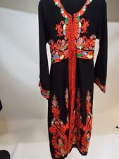 Youth Girl black red long embroidered Arabian dress caftan abaya gown 8-10 year