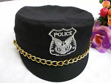 Women Lady Black Police Uniform Halloween Cosplay Costume Party Hat Cap Prop