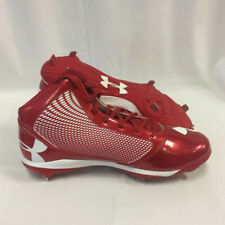 NEW Mens Under Armour Team Yard Mid ST Baseball Cleats Red/White Sz 15 M
